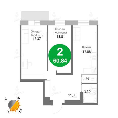 Вариант №1169, 2-комнатная квартира в жилом комплексе