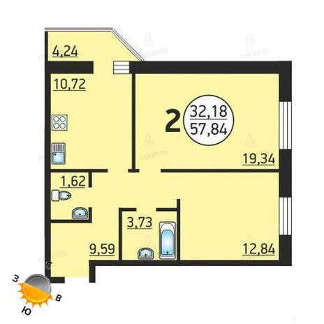 Вариант №1369, 2-комнатная квартира в жилом комплексе Семьи Шамшиных 55