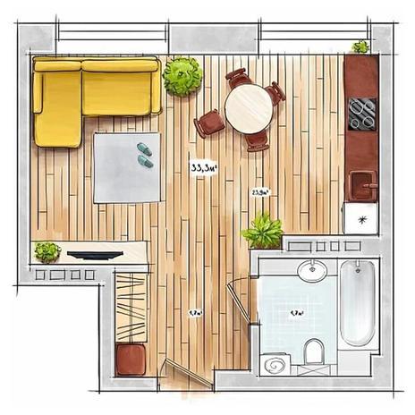 Вариант №3947, 1-комнатная квартира в жилом комплексе БонАпарт