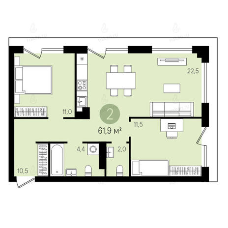 Вариант №2620, 3-комнатная квартира в жилом комплексе Квартал на Никитина