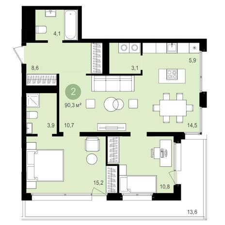 Вариант №4159, 3-комнатная квартира в жилом комплексе Бульварный переулок