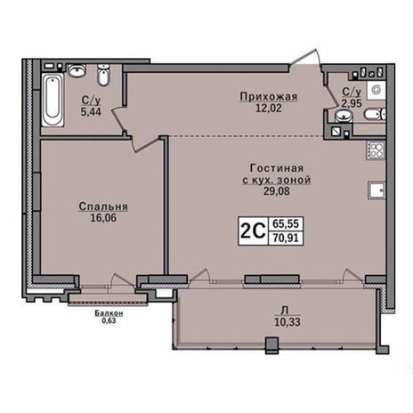 Вариант №2931, 2-комнатная квартира в жилом комплексе