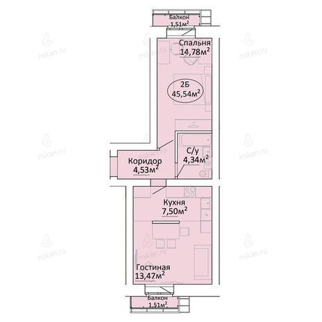 Вариант №2188, 2-комнатная квартира в жилом комплексе Малахит