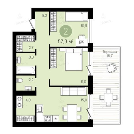 Вариант №2781, 3-комнатная квартира в жилом комплексе Европейский Берег