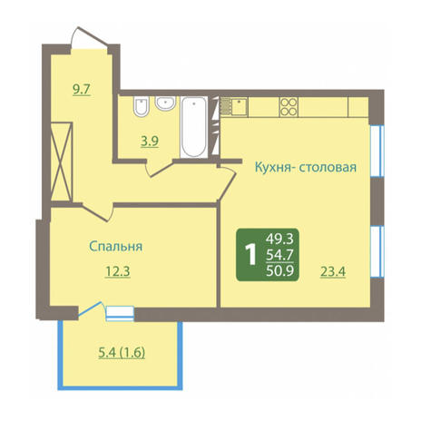 Вариант №3035, 2-комнатная квартира в жилом комплексе