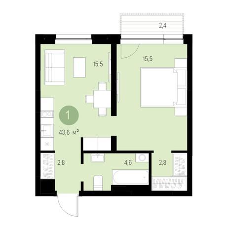 Вариант №4637, 2-комнатная квартира в жилом комплексе Европейский Берег