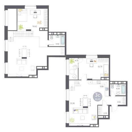 Вариант №3453, 3-комнатная квартира в жилом комплексе