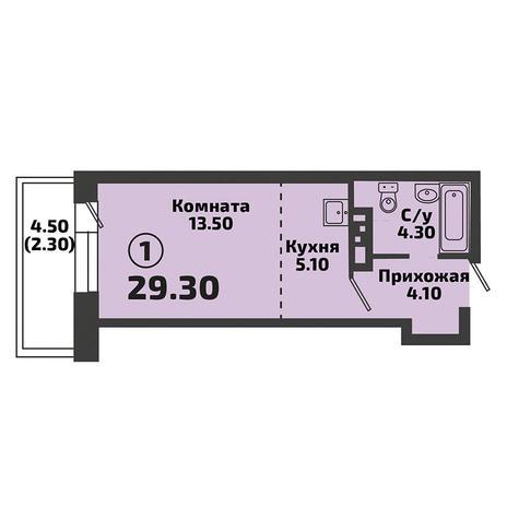 Вариант №3388, 1-комнатная квартира в жилом комплексе Крымский
