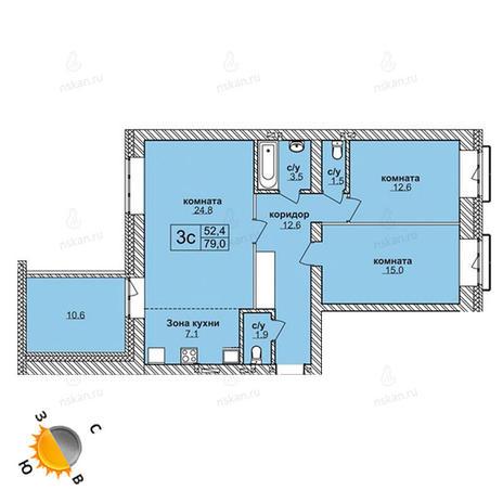 Вариант №1577, 3-комнатная квартира в жилом комплексе Ясный берег
