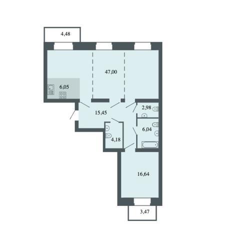 Вариант №6159, 3-комнатная квартира в жилом комплексе