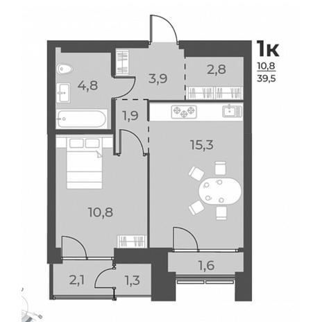 Вариант №5814, 2-комнатная квартира в жилом комплексе
