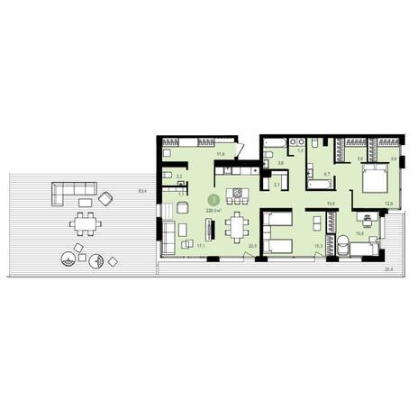 Вариант №4181, 4-комнатная квартира в жилом комплексе Жуковка