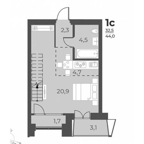 Вариант №5837, 1-комнатная квартира в жилом комплексе