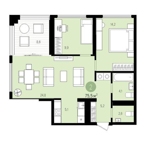 Вариант №5519, 3-комнатная квартира в жилом комплексе