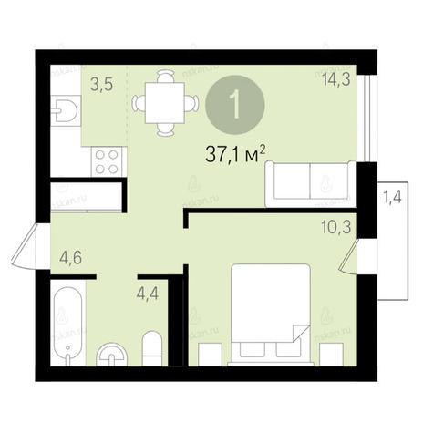 Вариант №2678, 2-комнатная квартира в жилом комплексе Дунаевский