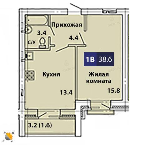 Вариант №1843, 2-комнатная квартира в жилом комплексе Свобода