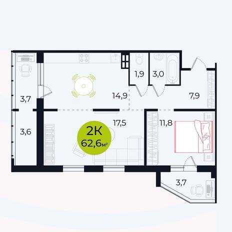 Вариант №4102, 2-комнатная квартира в жилом комплексе Чистая Слобода
