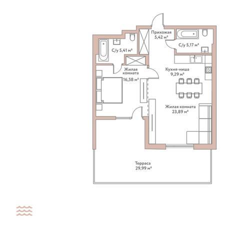 Вариант №5794, 2-комнатная квартира в жилом комплексе