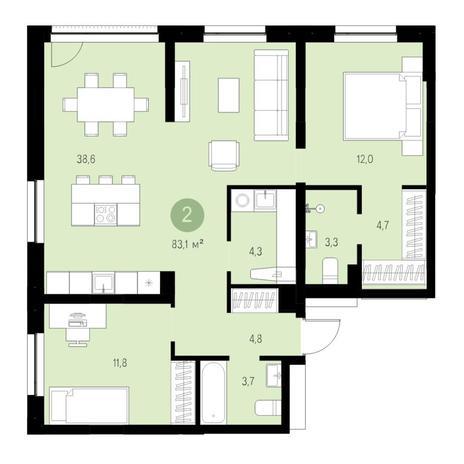 Вариант №4624, 3-комнатная квартира в жилом комплексе