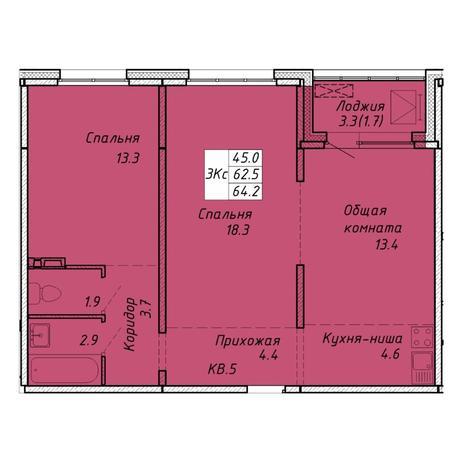 Вариант №6454, 3-комнатная квартира в жилом комплексе