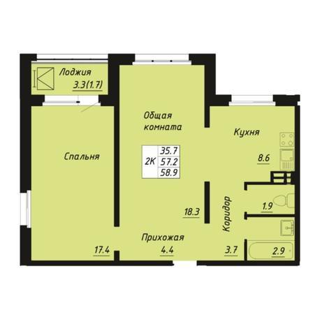 Вариант №5270, 2-комнатная квартира в жилом комплексе