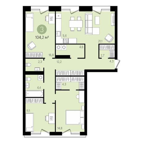 Вариант №3477, 4-комнатная квартира в жилом комплексе На Декабристов