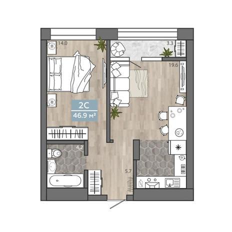 Вариант №3103, 2-комнатная квартира в жилом комплексе Облака