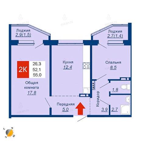 Вариант №2535, 2-комнатная квартира в жилом комплексе Акварельный