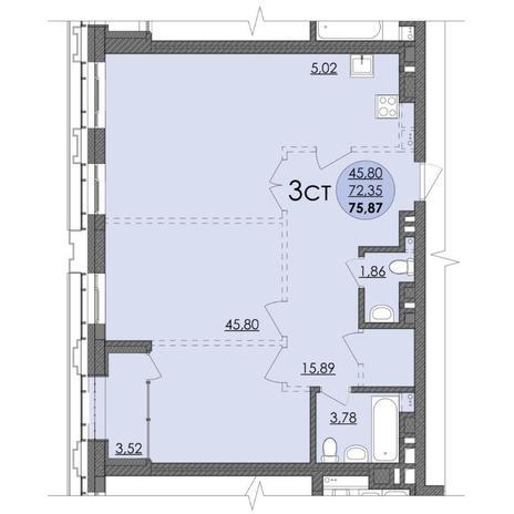 Вариант №4738, 3-комнатная квартира в жилом комплексе Европейский Берег