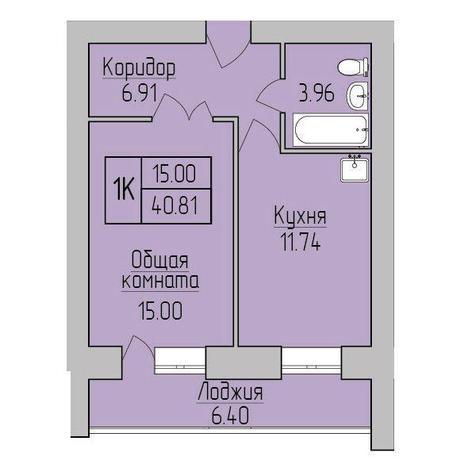 Вариант №3843, 1-комнатная квартира в жилом комплексе