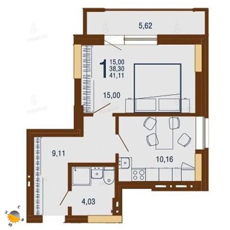 Вариант №1817, 1-комнатная квартира в жилом комплексе На Доватора