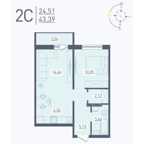 Вариант №5568, 2-комнатная квартира в жилом комплексе