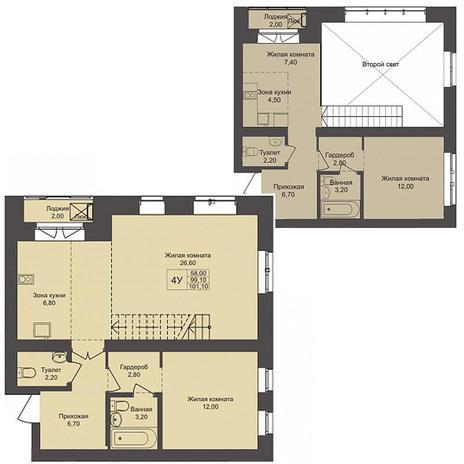 Вариант №3791, 4-комнатная квартира в жилом комплексе