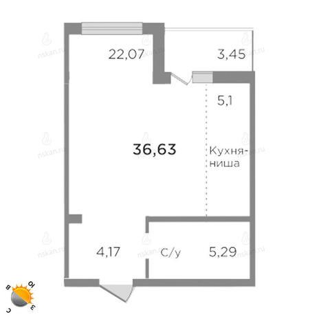 Вариант №1758, 1-комнатная квартира в жилом комплексе Ясный берег