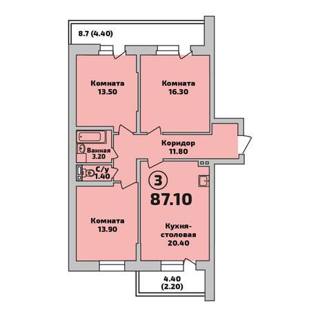 Вариант №3402, 3-комнатная квартира в жилом комплексе Родники