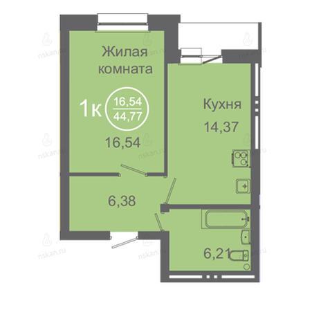 Вариант №2418, 1-комнатная квартира в жилом комплексе Дианит