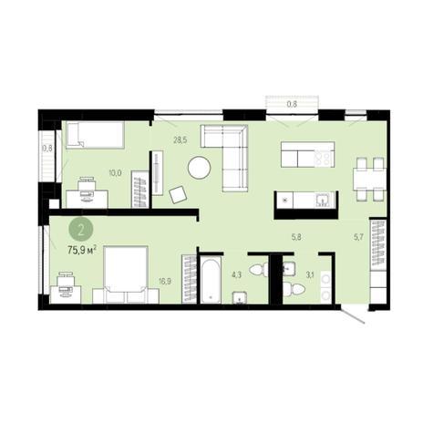 Вариант №6257, 3-комнатная квартира в жилом комплексе