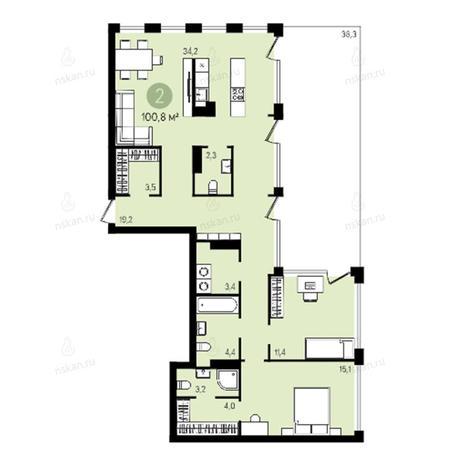 Вариант №2604, 3-комнатная квартира в жилом комплексе
