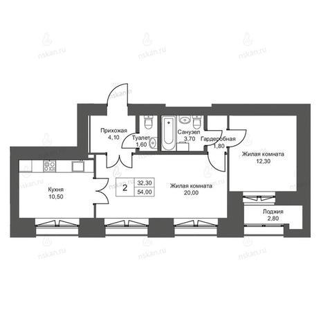 Вариант №2704, 2-комнатная квартира в жилом комплексе Онега