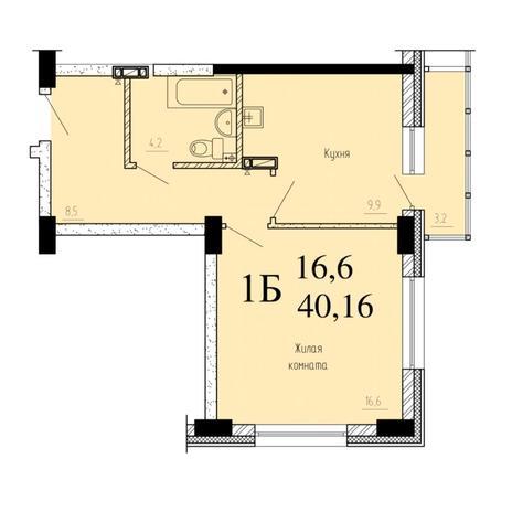 Вариант №6524, 1-комнатная квартира в жилом комплексе