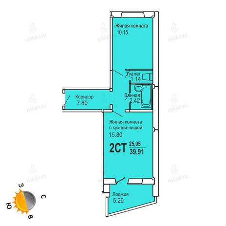 Вариант №726, 2-комнатная квартира в жилом комплексе Софийский квартал