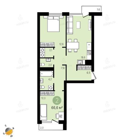 Вариант №2410, 3-комнатная квартира в жилом комплексе Ясный берег