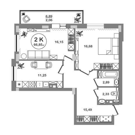Вариант №5211, 2-комнатная квартира в жилом комплексе