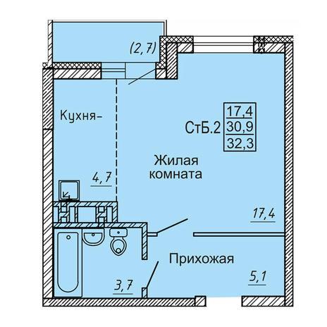 Вариант №4120, 1-комнатная квартира в жилом комплексе Новые Матрешки