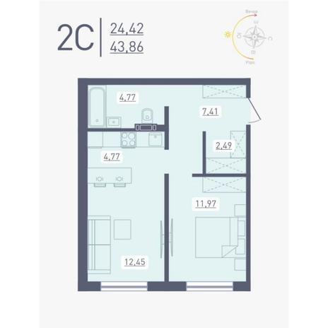 Вариант №4889, 2-комнатная квартира в жилом комплексе Радуга Сибири
