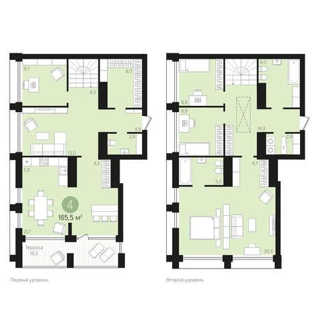 Вариант №4020, 4-комнатная квартира в жилом комплексе Европейский Берег