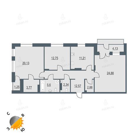 Вариант №114, 3-комнатная квартира в жилом комплексе На Декабристов