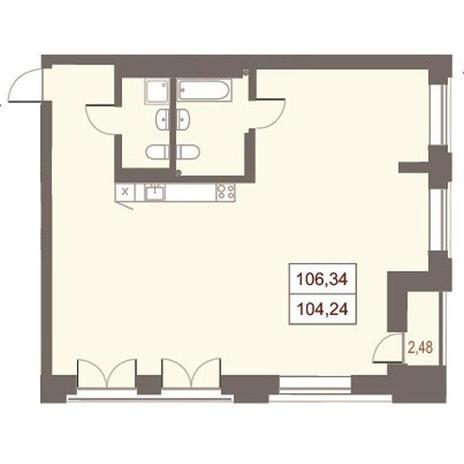 Вариант №2866, 4-комнатная квартира в жилом комплексе Дом на Чаплыгина