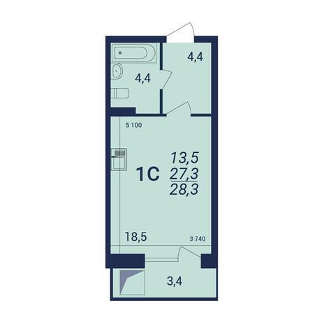 Вариант №3916, 1-комнатная квартира в жилом комплексе NOVA-дом