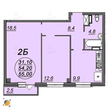 Вариант №2351, 2-комнатная квартира в жилом комплексе Аэропорт